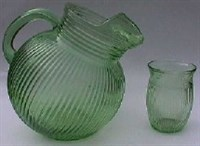 Fine Rib Green Pitcher & Glass
